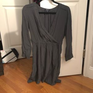 Satin Charcoal Madewell V-Neck Dress, Size 4